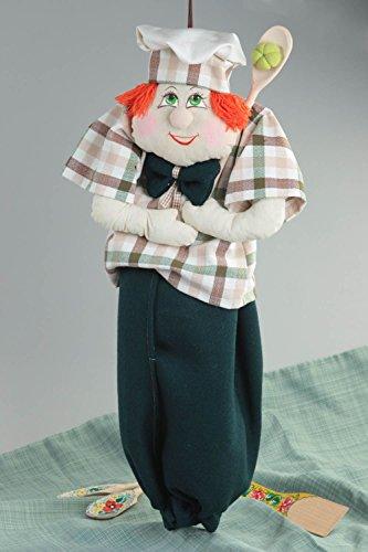 Puppe aus Stoff handmade Deko Einzugsgeschenk Idee Küchen Accessoire für Tüten