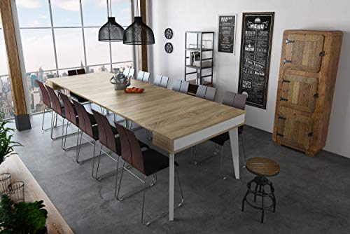 Home Innovation - Table Console de Salle à Manger et Séjour rectangulaire avec rallonges, Extensible Nordic K jusqu' à 300 cm, finition Blanc Mat - Chêne brossé. Style Scandinave. JusquŽà 14 personnes