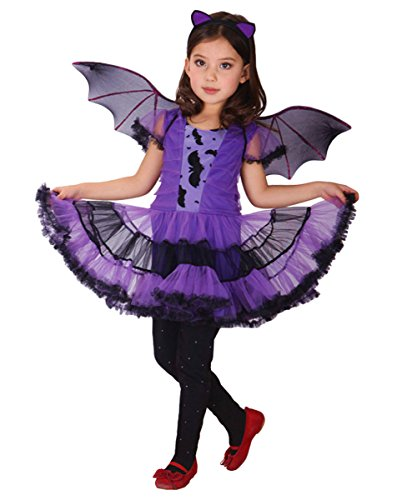 ShallGood Halloween Kostüm Für Jungen Mädchen Hexe Wonder Girls Mit Stirnband Kinder Kostüm Kleinkind 90Cm Umhang Held Cosplay Schläger (Kleinkind Bat Girl Kostüm)