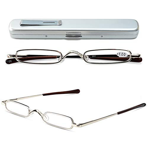 VEVESMUNDO® Lesebrille Metall Klassische Scharnier Schmal Stil Brille Lesehilfe Augenoptik Vollrandbrille Mit Etui (1 Stück Silber Lesebrille, 2.0)