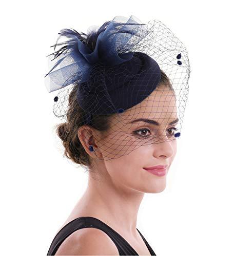 Lucky Leaf Fascinators Hut Blume Mesh Bänder Federn auf einem Stirnband und einem geteilten Clip Cocktail Tea Party Hochzeit Kirche Headwear für Mädchen und Frauen Braut (6-Marineblau) (Tea-party-hüte Frauen)