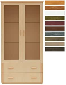 Vitrine FIDJI 2 portes verre hêtre naturel décors rotin vertical 2 tiroirs