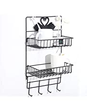 HOME CUBE 2 Layer Multipurpose Kitchen Bathroom Shelf Wall Holder Storage Rack Bathroom Rack Refrigerator Broadside Storage Box Strong Magic Sticker Shower Rack Shelf with 4 Hook- Black Color