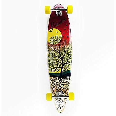 Paradox Longboard Pintail Cruiser Freeride Monopatín Skateboard Madera de Arce(107 cm)