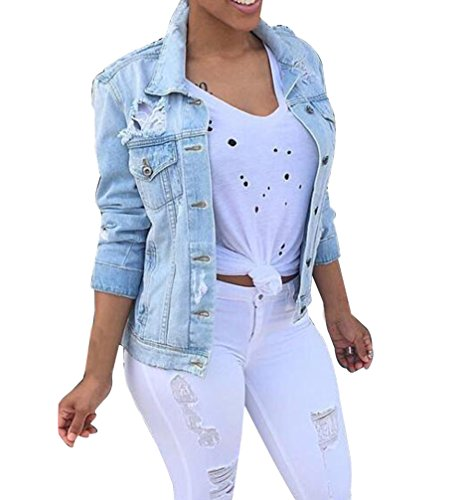 Mujer Chaqueta Vaquera Rotos Talla Grande Löcher Jean Outwear Color Sólido 4XL