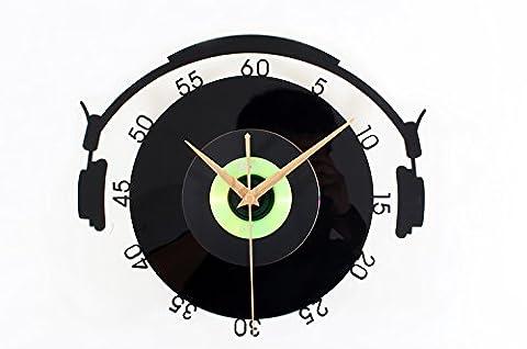 Damjic Cd-Stereoanlage Vinyl Record Clock Mode Retro Kunst Schlafzimmer Wall Clock Clock 30 CM D