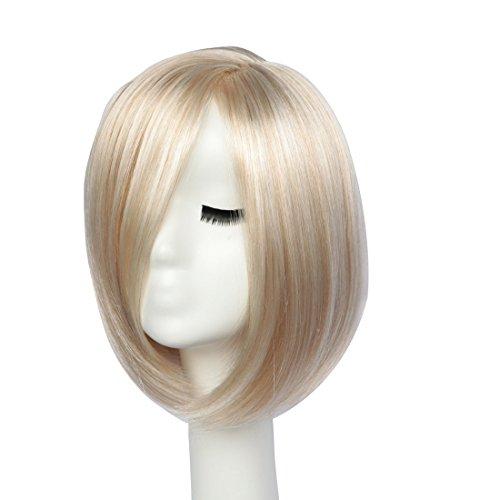 BESTUNG Kurze Bob Gerade Perücken für Frauen Volle Perücke Natürliche Ombre Blonde Synthetische Perücken Harajuku Stil Haar für Cosplay Partei mit Freie Perücke Kappe (W100504) (blond gemischt) (Volle Perücke Bob)