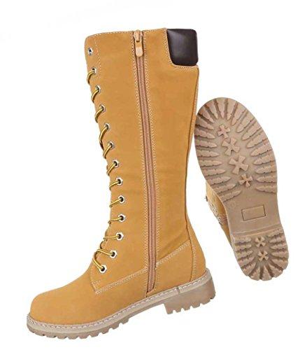 Damen Stiefel Schuhe Schnür Boots Schwarz Camel