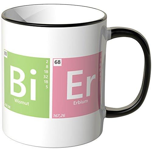 JUNIWORDS Tasse - Wähle eine Farbe -Periodensystem Bier - Schwarz