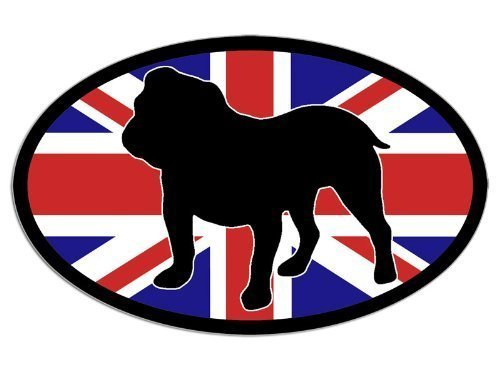 Oval Union Jack Englische Bulldogge Aufkleber (Bull Dog Breed)
