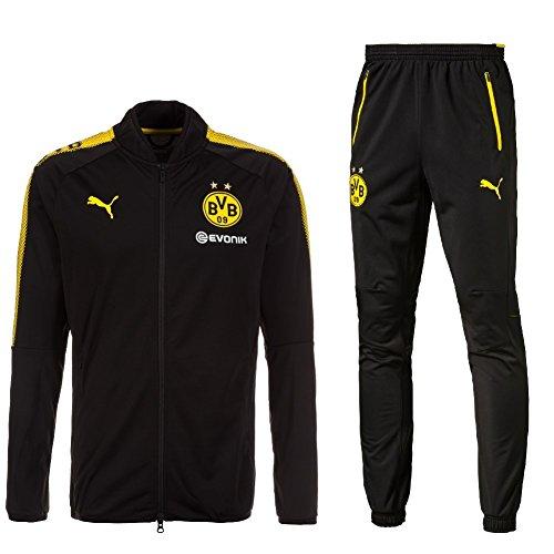 Puma BVB Borussia Dortmund Trainingsanzug 2017-2018 Herren, Größe:XXL;Farbe:Schwarz