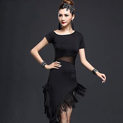 Women's Clothing Sexy Tanzkleid für Erwachsene, weibliche schräge Schulterquasten, Latin Rumba, kurzärmliges Tanzkleid, geeignet für Bühnenwettbewerb, Nationaltanz ZDDAB