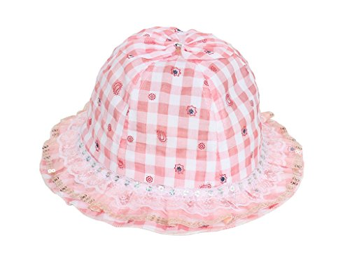 Smile YKK Enfant Bébé Bucket Hat Mignon Chapeau Souple Bob Solaire Plage Voyage Camping Carreaux Rose