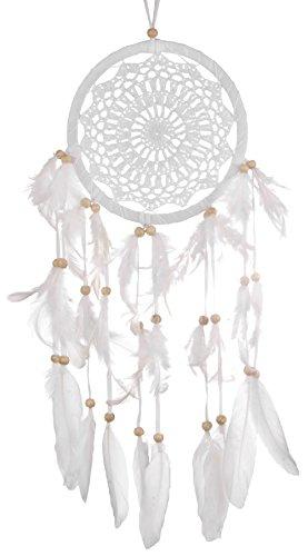 Atrapasuenos de color blanco de 16 cm de diametro, Dreamcatcher, ganchillo