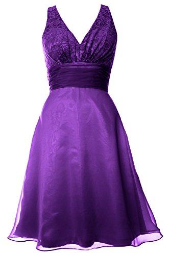 MACloth Women V Neck Chiffon Lace Short Bridesmaid Dress Wedding Party Gown Violett