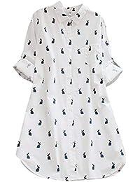 OverDose Damen Herbst Freizeit Stil Frauen Baumwolle Solid Langarm-Shirt beiläufige lose Bluse Beach Party Button-Down-Tops Pullover