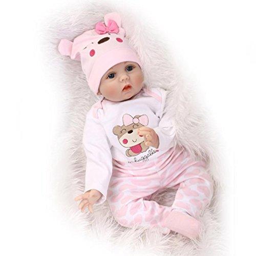 NPK Reborn Babypuppen Handmade Soft Silikon Vinyl 22 inch 55 cm Magnetic Schnuller Lebensechte Newborn Babypuppe (b) (Oma-baby-dusche)
