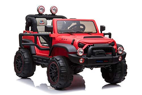 Mondial toys auto elettrica 12v per bambini 2 posti maxi fuoristrada con telecomando 2.4g soft start ammortizzatori full optional mt-018 red