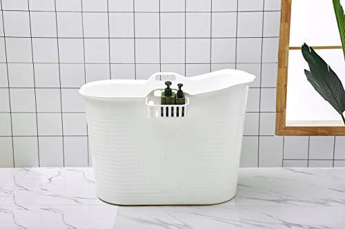 Mobile Korb (Mobile Badewanne, Ideal für das kleines Badezimmer, 92 * 51 * 63cm, Stylisch und Stimmungsvoll (Weiß))