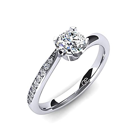 Moncoeur Engagement Rings Immortelle + Cubic Zirconia Engagement Rings + 925 Sterling Silver Wedding Bands + Engagement Rings for Women + Engagement Bands + Comfort Fit + Luxury Gift