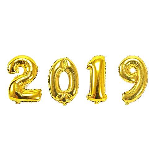 Prevently Luftballon Partyballon16 Zoll 2019 Nummer Aluminiumfolie Ballon für Weihnachten, Geburtstagsfeiern, Party, Hochzeitsfeiern Gold Silber (Gold)