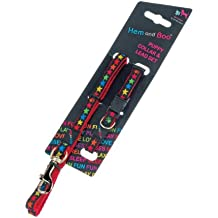 "Hem and Boo Stars Black on Red Puppy Collar and Lead Set Collar 3/8"" x 8-12""/20-30cm, Lead 48""/120cm"