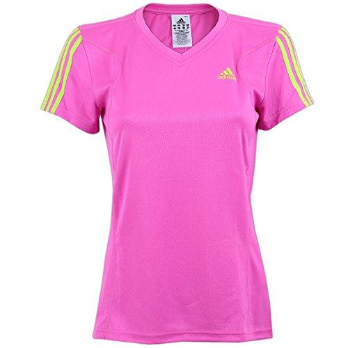adidas Damen Galaxy Running Laufshirt Fitness Shirt Sportshirt (pink-gelb, 38) -