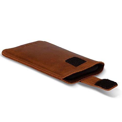 Smartphone Leder Tasche für Apple iPhone 7 Handyhülle Cover Pull Tab Case Hülle, Farbe:Schwarz cognac Braun