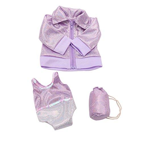 MagiDeal Mode Badeanzug mit Mantel und Rucksack Schwimmen Outfit für 18'' American Girl Puppe - Lila (Erwachsene Baby-outfits Für)
