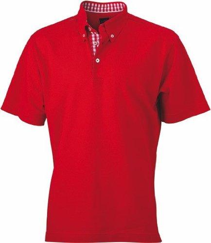 James+Nicholson Plain Poloshirt mit modischem Karoeinsatz JN 964 Red/Red/White
