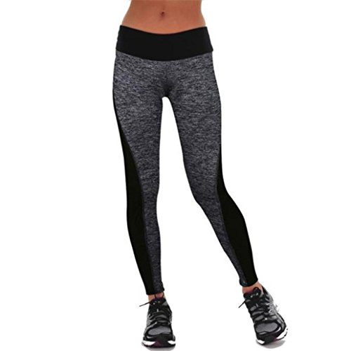 Legging Pantalon de Sport Femme Yoga Fitness Gym Pilates Gaine large super doux Coton pantalon harem yoga/pilates Patchwork GongzhuMM (M, GRIS)