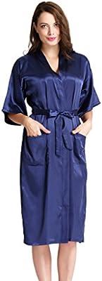 Aibrou Lenceria Pijamas para Mujer,Larga Satén Albonoz Kimono Batas Mujer de Aspecto Brillante para Spa, Playa,Casa.