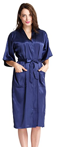 Aibrou Womens Long Satin Dressing Gown Kimono Robe Wedding Kimono Nightwear Sleepwear Bathrobe - 41gcZt2jYnL - Aibrou Womens Long Satin Dressing Gown Kimono Robe Wedding Kimono Nightwear Sleepwear Bathrobe