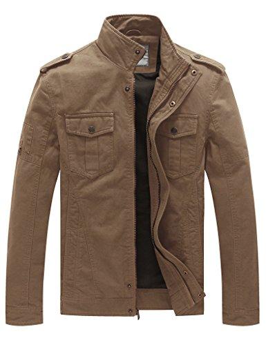 Wenven Jacken Herren Übergangsjacke Casual Militär Baumwolle Leichte Windbreaker Khaki DE 48-50 (Label Small)