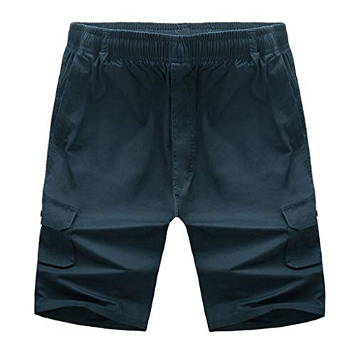 Herren Sommer Kurze Jeans Cargo Shorts Jogger Kurze Hose Basic Hose Joggingshose Freizeithose Bermuda Sporthose Slim Fit LN8205 --Feste Badehose Elastic Beach Surfing Running Pants,Marine,XXXL Cotton Classic Baggy Pants