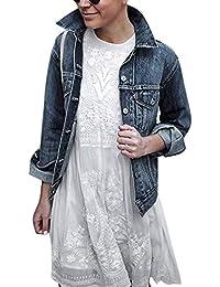 46601d88263e So8ooa Cappotto da Donna Womens Pure Color Splicing Pullover Manica Lunga  con Cappuccio in Denim Moda
