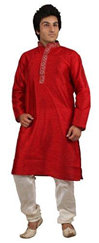 Royal Kurta Men's Silk Blend Embroidered Kurta Churidar Set -