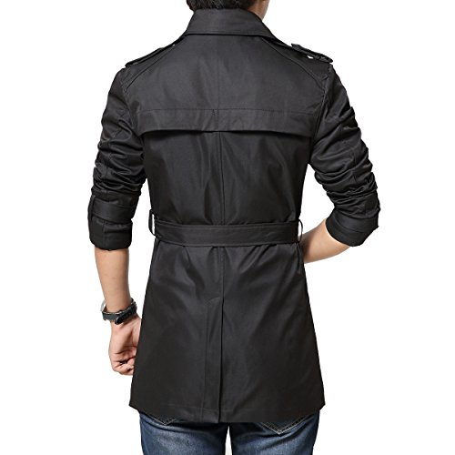 Mirecoo Slim fit Herren Zweireiher Trenchcoat Jacke mit Gürtel - 2