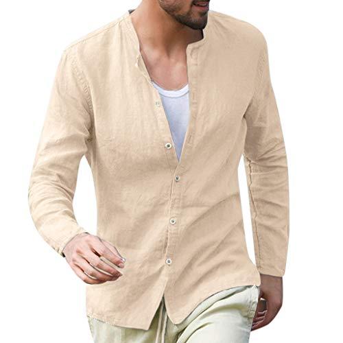 DNOQN Polo Shirt Männer Longsleeve Weiß Herren Tops Baggy Baumwolle Leinen Solid Knopf Langarm Retro T Shirts übersteigt Bluse S