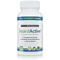 Beard Active™ – Bartwuchsmittel   120 Kapseln hochdosiert   MADE IN GERMANY   Bartwachstum anregen, fördern, beschleunigen   Für schönen, dichten Bartwuchs