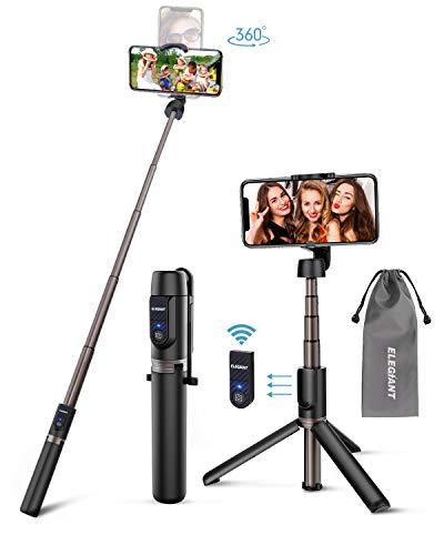ELEGIANT Selfie Stick Stativ, Bluetooth 3 in 1 Selfiestick Selfie Stange Stab mit Fernauslöser Dreibein kabellos Monopod für iPhone 11 XS XR X 8 8P 7 7P 6s Samsung S9 8 7 6 Huawei Android (4-6.5 Zoll)