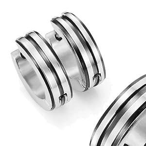 """316L Edelstahl zwei Tone""""Gelenkverschluss"""" Huggie Ohrringe mit Schwarz IP – 10mm Durchschnitt"""