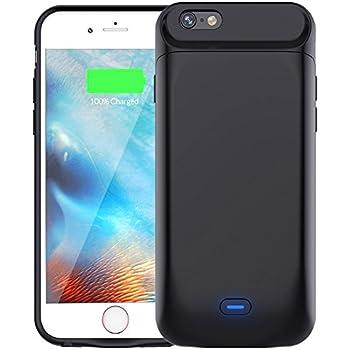 Bovon 7200mAh Akku Hülle für iphone 6 plus/6s plus (5,5 Zoll) Ultra dünne Batterie Hülle 200% Extra Akku Externer Power Bank für iPhone 6 plus/6s plus (Schwarz)