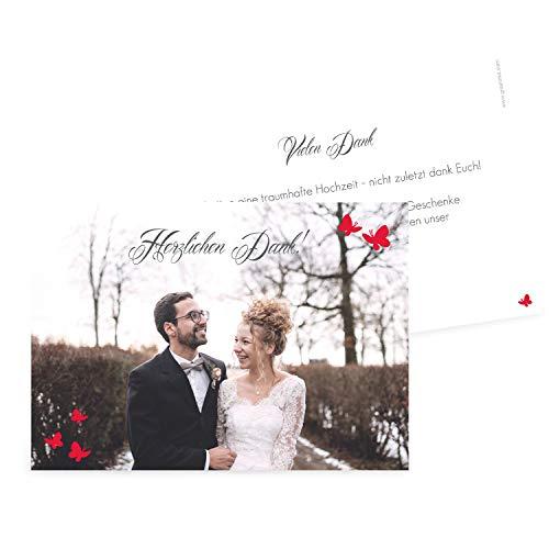 greetinks Hochwertige Dankeskarten zur Hochzeit Schmetterling in Rot | Inkl. Druck Ihrer Texte und Fotos | Doppelseitige Karte | 20 Stück | Hochzeit | Danksagungskarten (Silberne Hochzeit Sand)