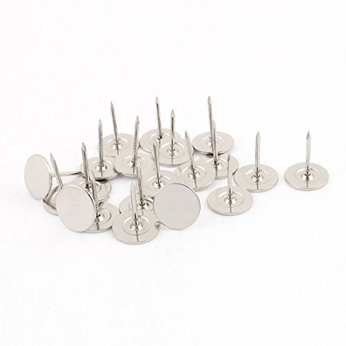 DealMux 16mm Durchmesser Rundkopf Polster Nagel Thumb Tack Reißzwecke Silber Ton 20PCS Tack Ton
