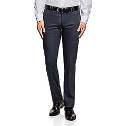 oodji Ultra Hombre Pantalones Ajustados con Pinzas, Azul, ES 46 (L)