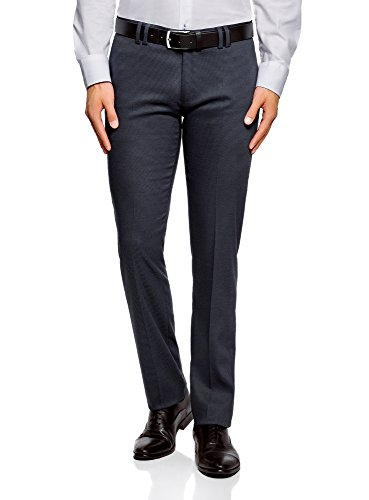 oodji Ultra Hombre Pantalones Ajustados con Pinzas, Azul, ES 44 (L)