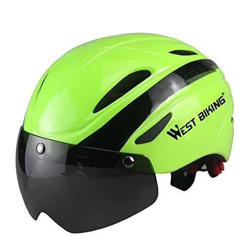 icocopro Bike Helm mit abnehmbarem Schild Visier, verstellbar Radfahren Helm mit Visier Shield Wind, Staub, UV-Schutz für Männer Frauen, Herren, 3AWJ-YP0708047-Black-green, Schwarz / Grün