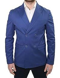 Giacca Uomo Doppio Petto Elegante Primaverile Sartoriale Slim Fit Blu  Taschino da Abito Made in Italy 3d80e94d3a8