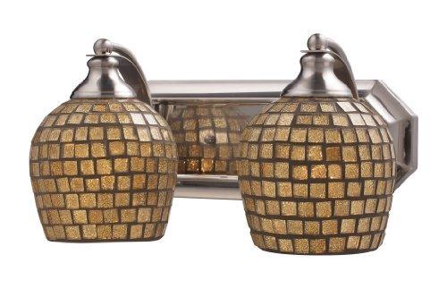 Elk 570-2N-GLD 2-Light Vanity In Satin Nickel and Gold Mosaic Glass by Elk